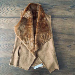 Love Token Jorja Draped Faux Fur & Faux Suede Vest